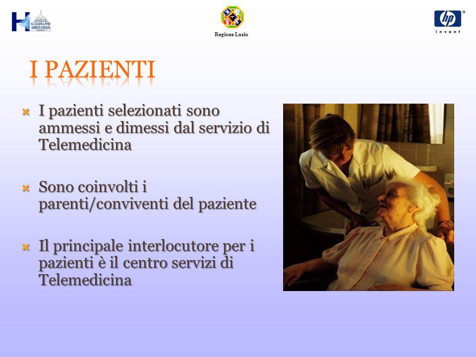 Regione Lazio  I pazienti selezionati sono ammessi e dimessi dal servizio di Telemedicina  Sono coinvolti i parenti/conviventi del paziente  Il principale interlocutore per i pazienti è il centro servizi di Telemedicina