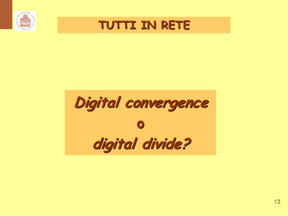 13 Digital convergence o digital divide TUTTI IN RETE