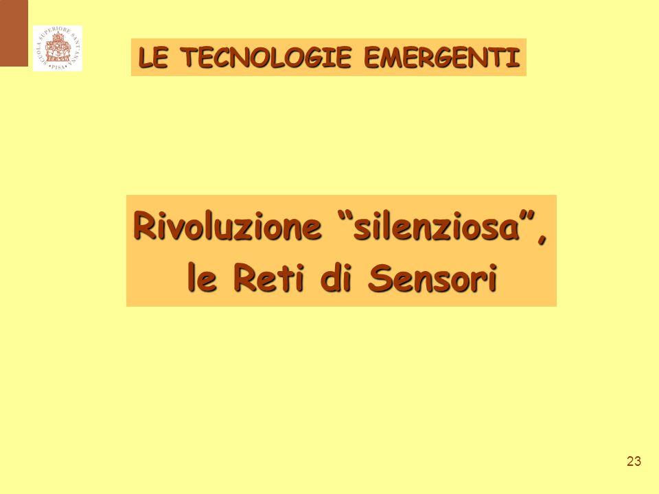 23 Rivoluzione silenziosa , le Reti di Sensori LE TECNOLOGIE EMERGENTI