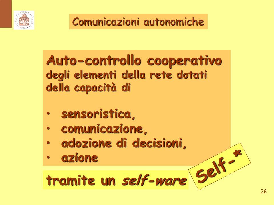 28 Comunicazioni autonomiche Auto-controllo cooperativo degli elementi della rete dotati della capacità di sensoristica, sensoristica, comunicazione, comunicazione, adozione di decisioni, adozione di decisioni, azione azione tramite un self-ware Self-*