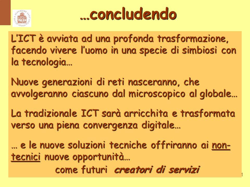 31 L'ICT è avviata ad una profonda trasformazione, facendo vivere l'uomo in una specie di simbiosi con la tecnologia… Nuove generazioni di reti nasceranno, che avvolgeranno ciascuno dal microscopico al globale… La tradizionale ICT sarà arricchita e trasformata verso una piena convergenza digitale… … e le nuove soluzioni tecniche offriranno ai non- tecnici nuove opportunità… come futuri creatori di servizi come futuri creatori di servizi …concludendo