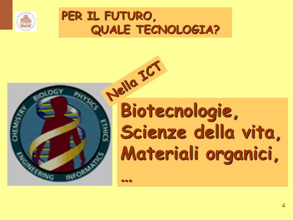 4 Biotecnologie, Scienze della vita, Materiali organici, … PER IL FUTURO, QUALE TECNOLOGIA.