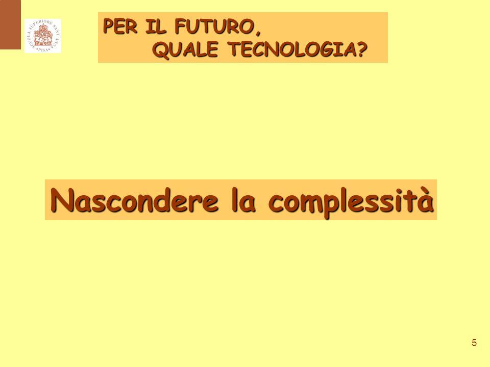 5 Nascondere la complessità PER IL FUTURO, QUALE TECNOLOGIA