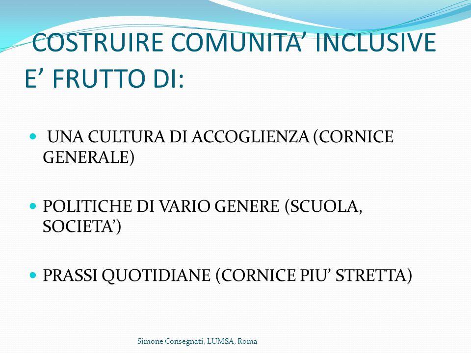 COSTRUIRE COMUNITA' INCLUSIVE E' FRUTTO DI: UNA CULTURA DI ACCOGLIENZA (CORNICE GENERALE) POLITICHE DI VARIO GENERE (SCUOLA, SOCIETA') PRASSI QUOTIDIANE (CORNICE PIU' STRETTA)