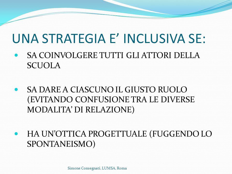 Simone Consegnati, LUMSA, Roma UNA STRATEGIA E' INCLUSIVA SE: SA COINVOLGERE TUTTI GLI ATTORI DELLA SCUOLA SA DARE A CIASCUNO IL GIUSTO RUOLO (EVITANDO CONFUSIONE TRA LE DIVERSE MODALITA' DI RELAZIONE) HA UN'OTTICA PROGETTUALE (FUGGENDO LO SPONTANEISMO)
