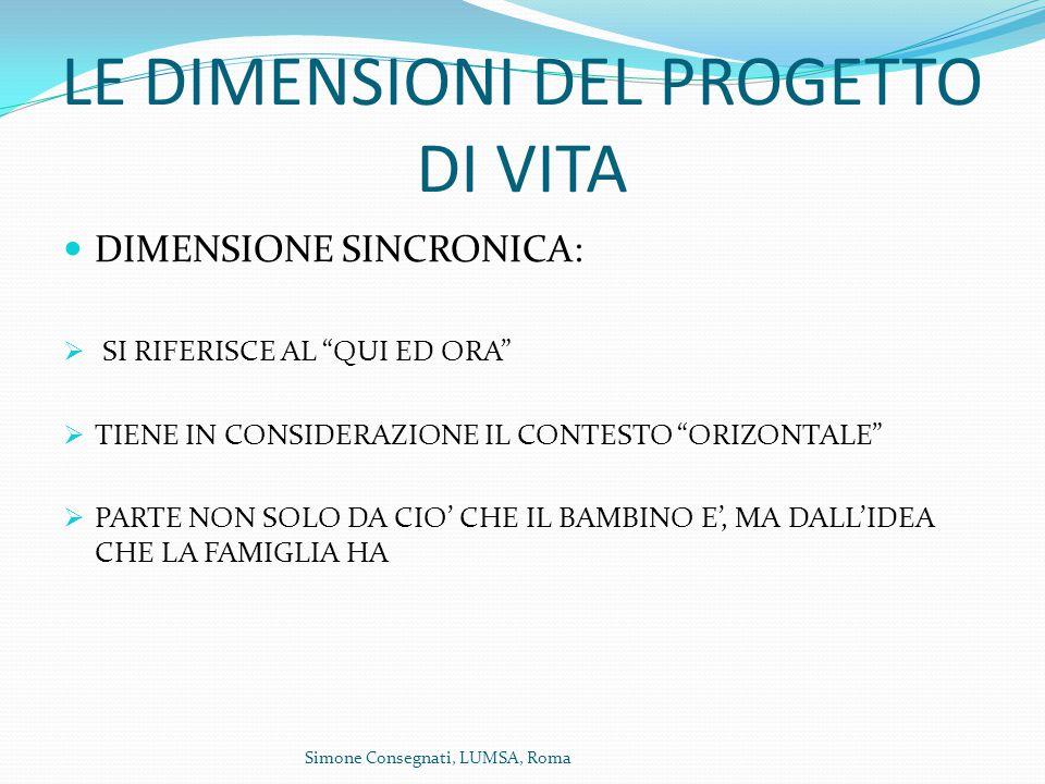 LE DIMENSIONI DEL PROGETTO DI VITA DIMENSIONE SINCRONICA:  SI RIFERISCE AL QUI ED ORA  TIENE IN CONSIDERAZIONE IL CONTESTO ORIZONTALE  PARTE NON SOLO DA CIO' CHE IL BAMBINO E', MA DALL'IDEA CHE LA FAMIGLIA HA Simone Consegnati, LUMSA, Roma