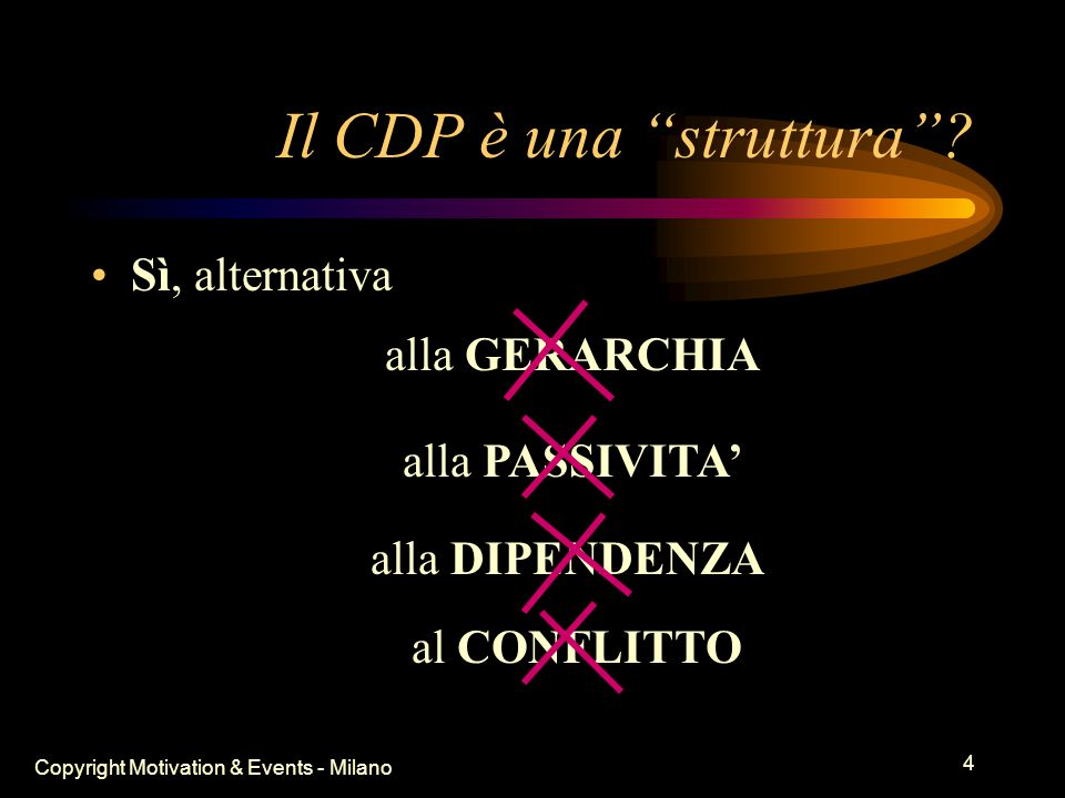 Copyright Motivation & Events - Milano 3 Perché il CDP funziona.