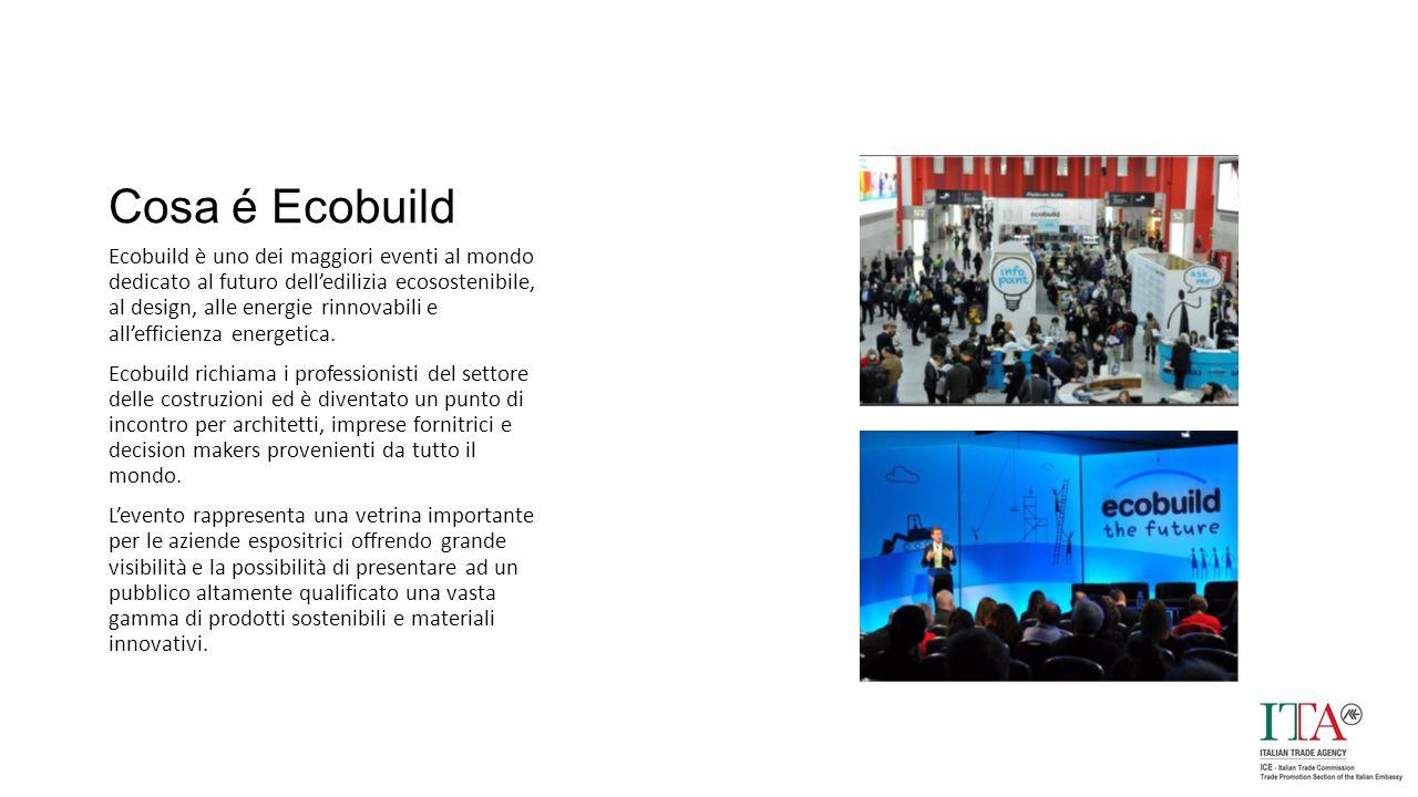 Cosa é Ecobuild Ecobuild è uno dei maggiori eventi al mondo dedicato al futuro dell'edilizia ecosostenibile, al design, alle energie rinnovabili e all'efficienza energetica.
