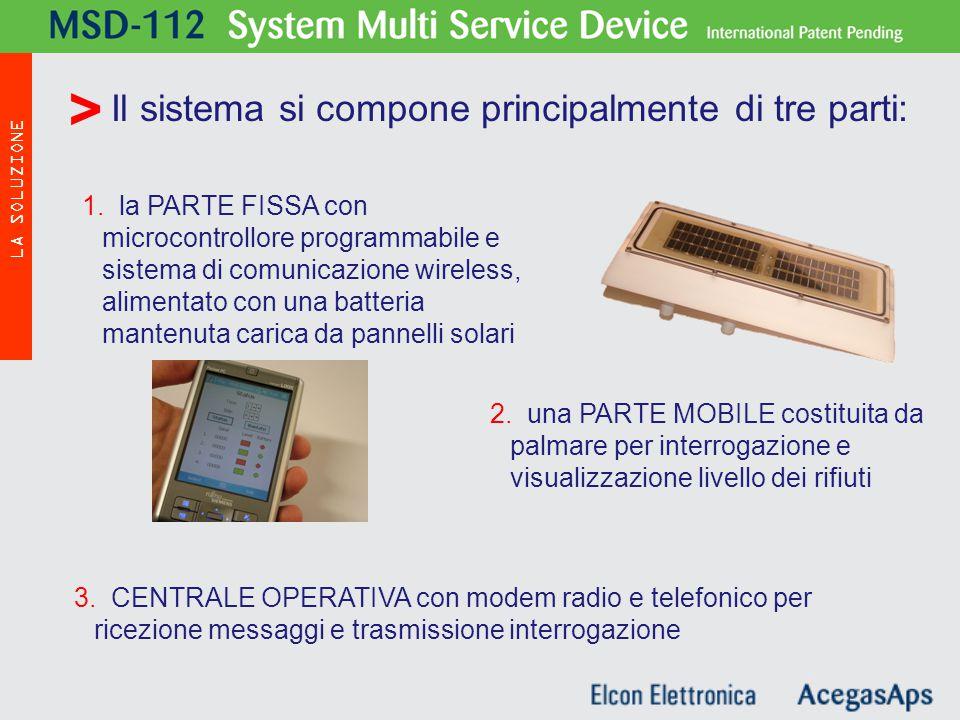 3. CENTRALE OPERATIVA con modem radio e telefonico per ricezione messaggi e trasmissione interrogazione Il sistema si compone principalmente di tre pa