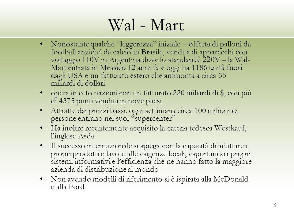 """6 Wal - Mart Nonostante qualche """"leggerezza"""" iniziale – offerta di palloni da football anziché da calcio in Brasile, vendita di apparecchi con voltagg"""