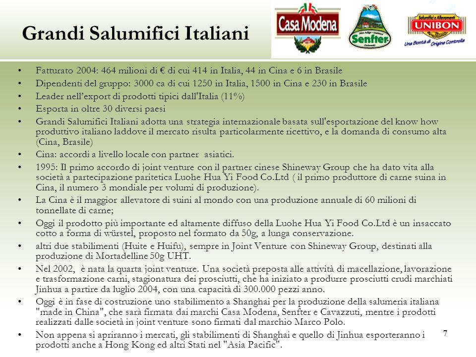 7 Fatturato 2004: 464 milioni di € di cui 414 in Italia, 44 in Cina e 6 in Brasile Dipendenti del gruppo: 3000 ca di cui 1250 in Italia, 1500 in Cina