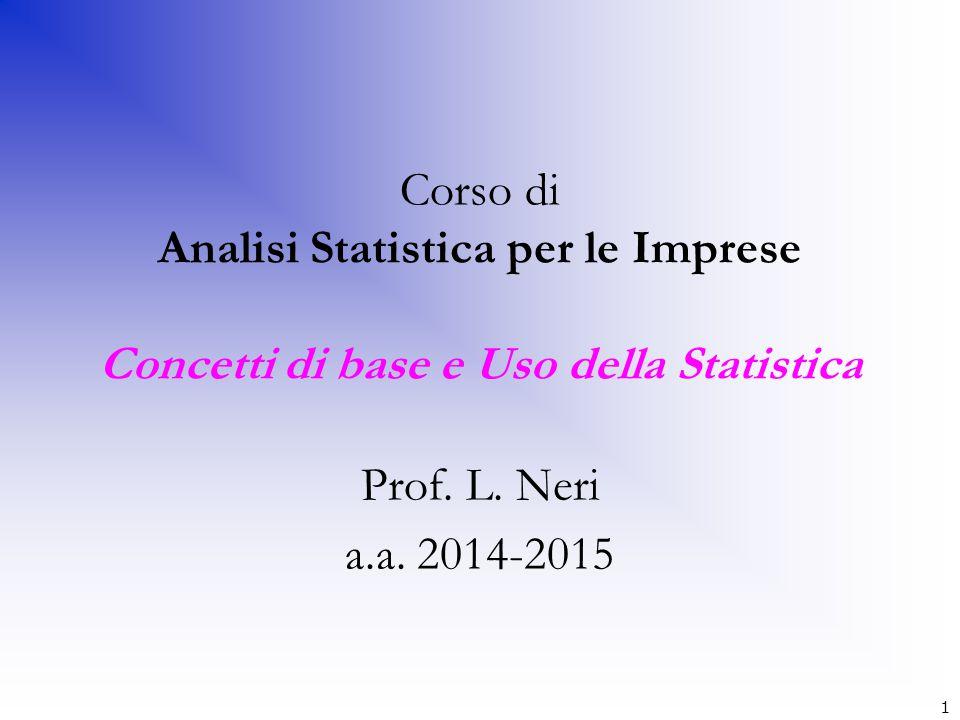 1 Corso di Analisi Statistica per le Imprese Concetti di base e Uso della Statistica Prof. L. Neri a.a. 2014-2015