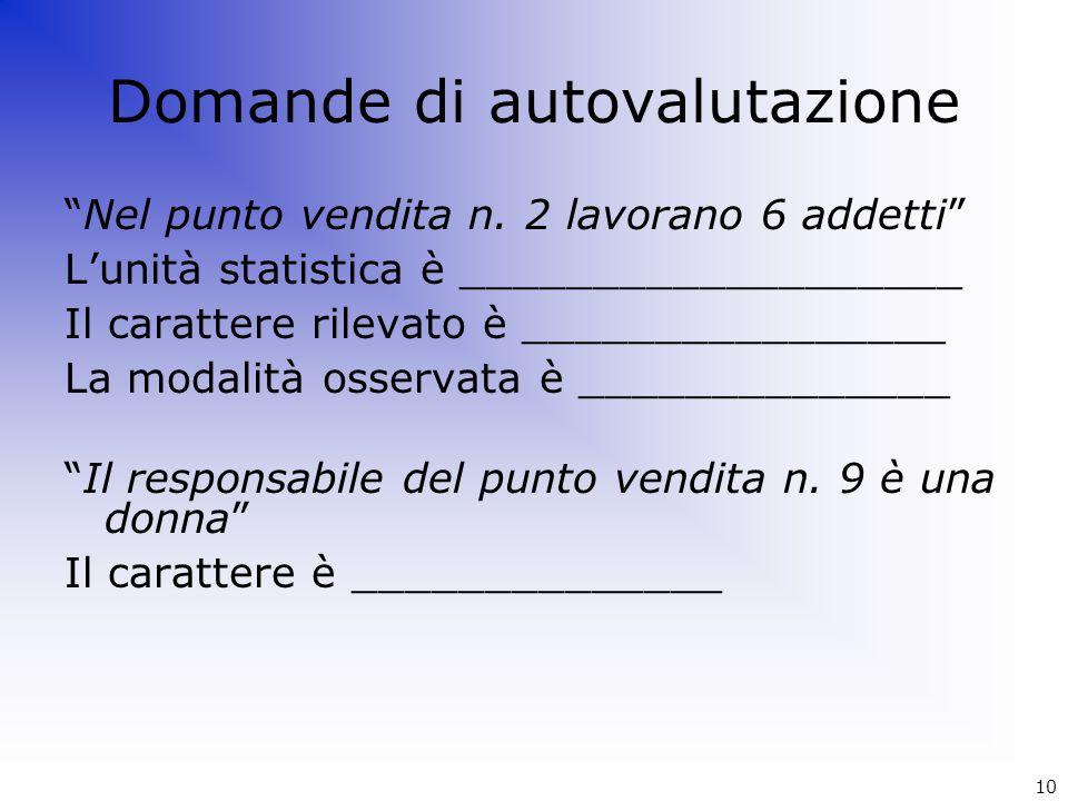 """Domande di autovalutazione """"Nel punto vendita n. 2 lavorano 6 addetti"""" L'unità statistica è ___________________ Il carattere rilevato è ______________"""