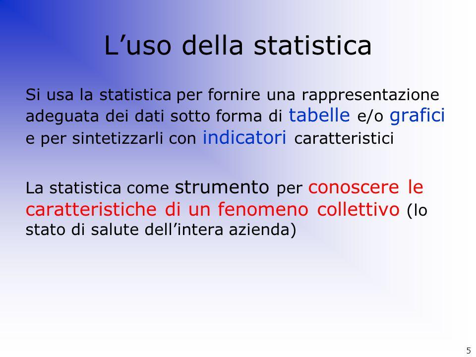 Si usa la statistica per fornire una rappresentazione adeguata dei dati sotto forma di tabelle e/o grafici e per sintetizzarli con indicatori caratter