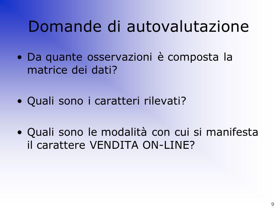 Domande di autovalutazione Da quante osservazioni è composta la matrice dei dati? Quali sono i caratteri rilevati? Quali sono le modalità con cui si m