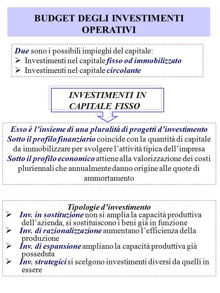 BUDGET DEGLI INVESTIMENTI OPERATIVI Due sono i possibili impieghi del capitale:  Investimenti nel capitale fisso od immobilizzato  Investimenti nel