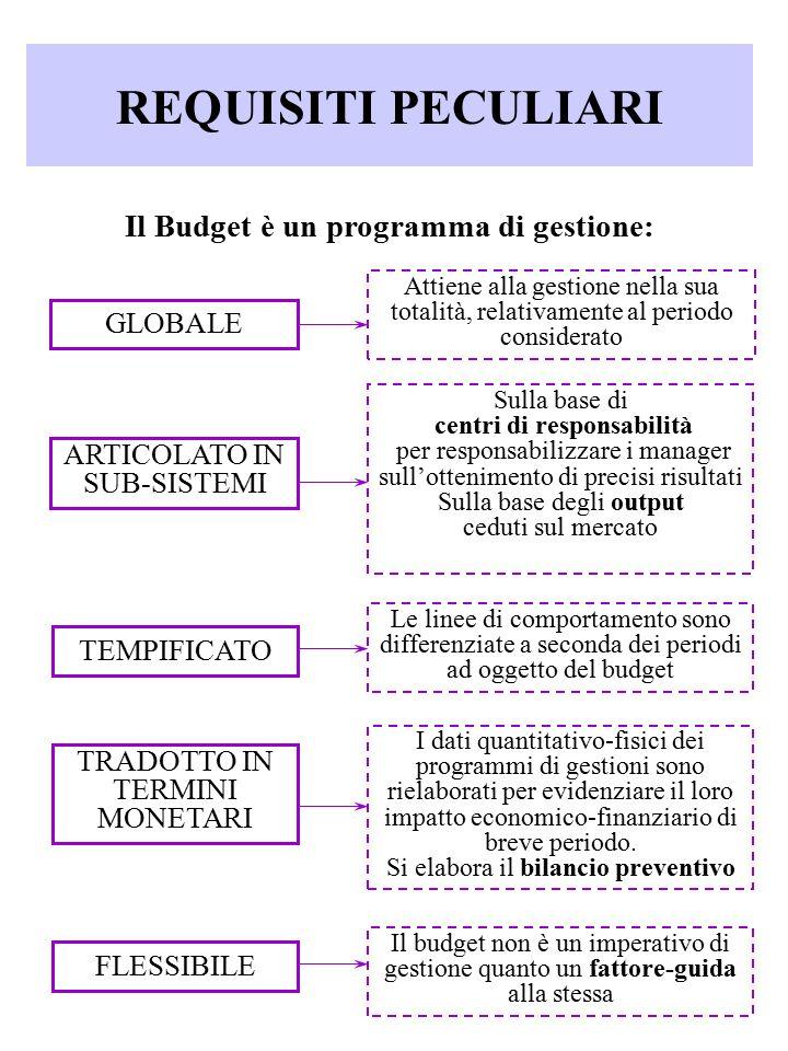 REQUISITI PECULIARI Il Budget è un programma di gestione: GLOBALE ARTICOLATO IN SUB-SISTEMI TEMPIFICATO TRADOTTO IN TERMINI MONETARI FLESSIBILE Attien