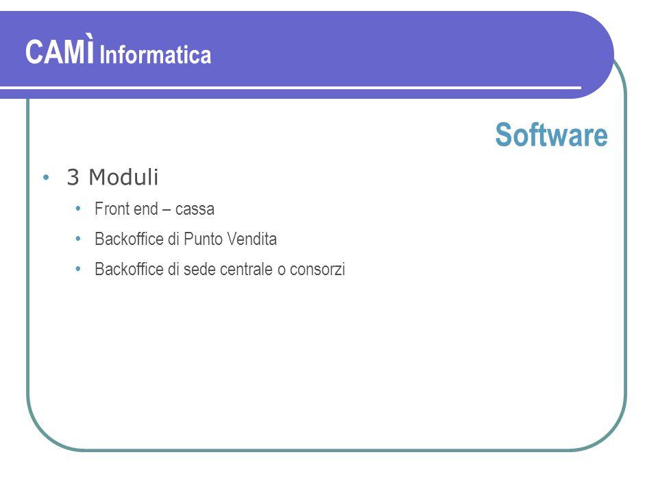 Software 3 Moduli Front end – cassa Backoffice di Punto Vendita Backoffice di sede centrale o consorzi CAM ì Informatica