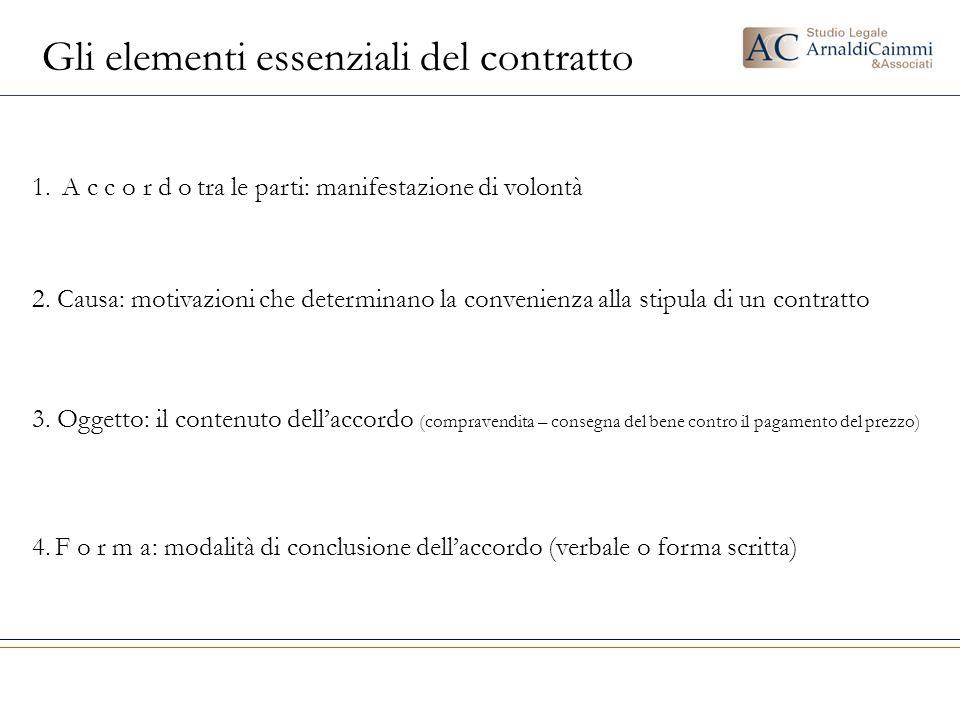 Gli elementi essenziali del contratto 2. Causa: motivazioni che determinano la convenienza alla stipula di un contratto 3. Oggetto: il contenuto dell'