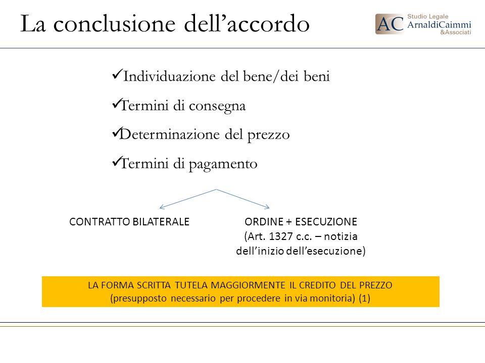 La conclusione dell'accordo Individuazione del bene/dei beni Termini di consegna Determinazione del prezzo Termini di pagamento CONTRATTO BILATERALEOR