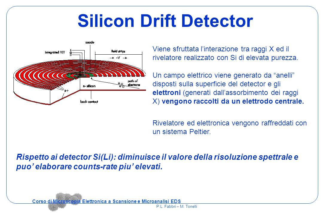 Silicon Drift Detector Viene sfruttata l'interazione tra raggi X ed il rivelatore realizzato con Si di elevata purezza. Rivelatore ed elettronica veng