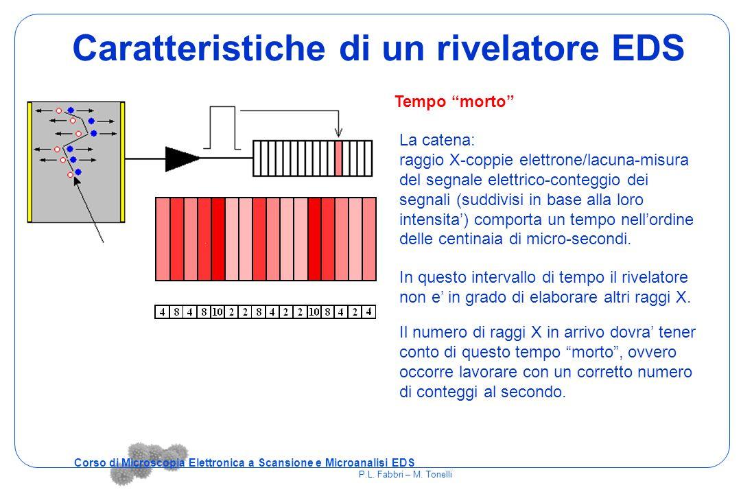 Caratteristiche di un rivelatore EDS La catena: raggio X-coppie elettrone/lacuna-misura del segnale elettrico-conteggio dei segnali (suddivisi in base