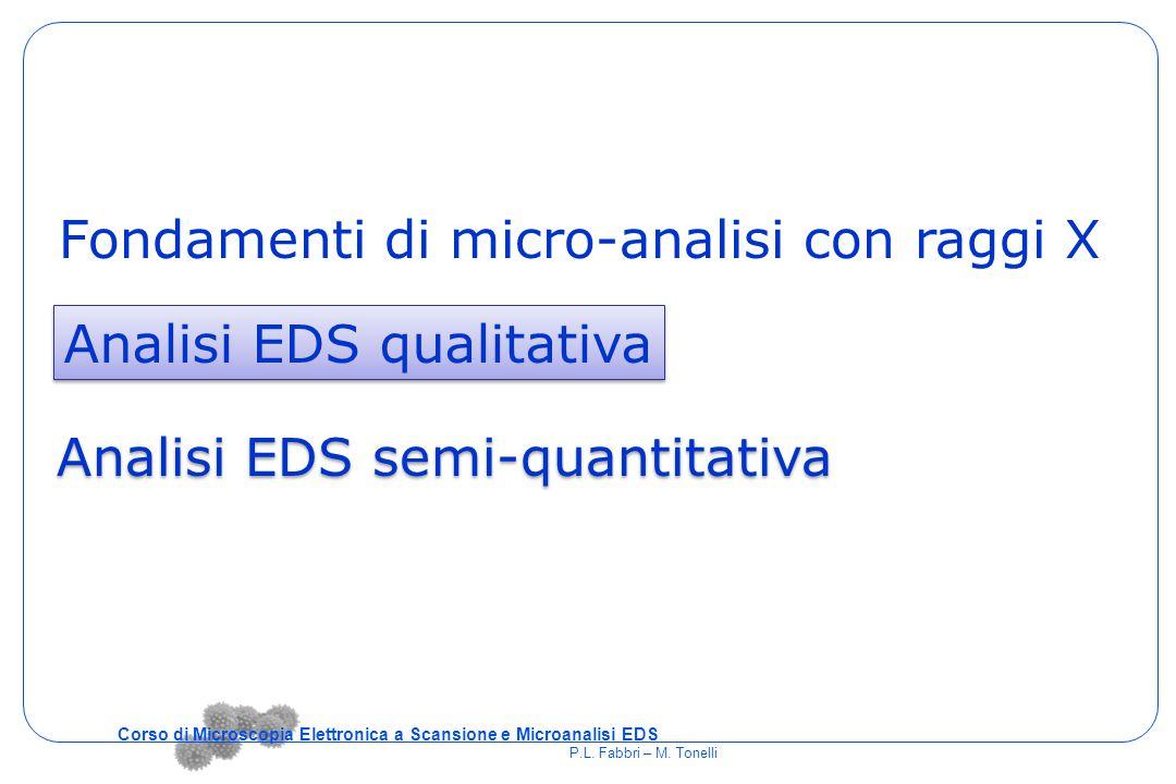 Fondamenti di micro-analisi con raggi X Analisi EDS qualitativa Analisi EDS semi-quantitativa Corso di Microscopia Elettronica a Scansione e Microanal