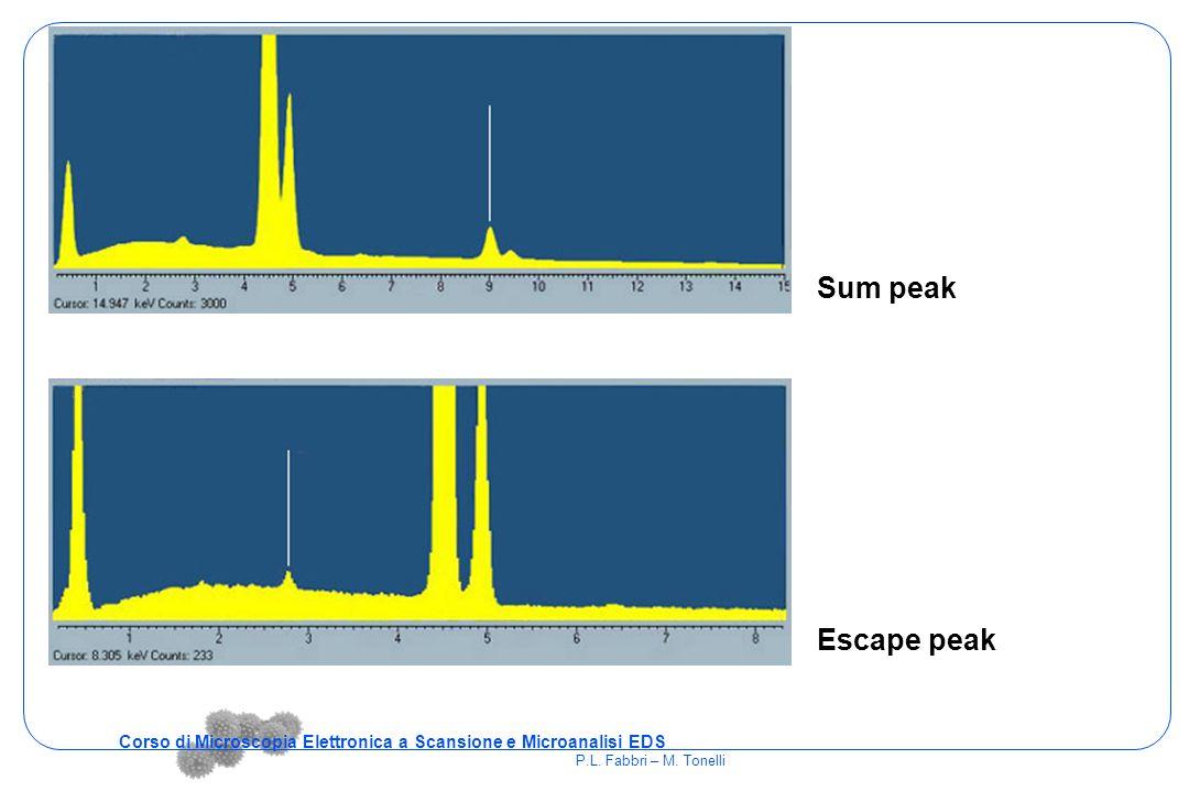 Artefatti Sum peak Escape peak Corso di Microscopia Elettronica a Scansione e Microanalisi EDS P.L. Fabbri – M. Tonelli