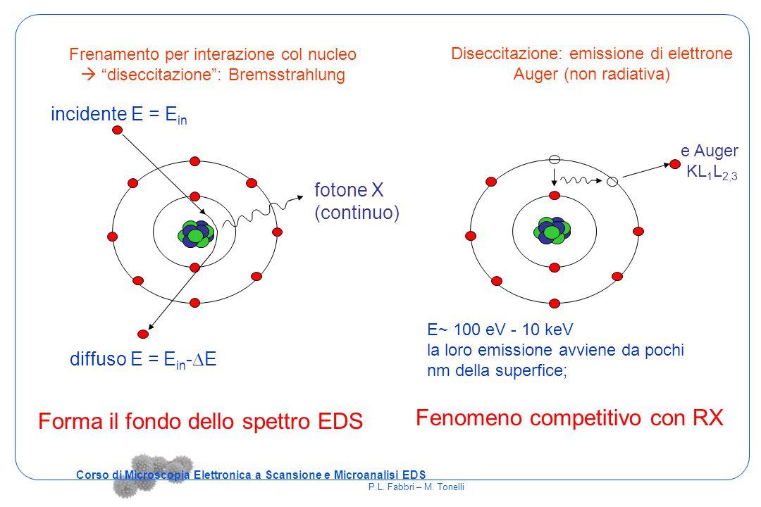 """diffuso E = E in -  E fotone X (continuo) incidente E = E in Frenamento per interazione col nucleo  """"diseccitazione"""": Bremsstrahlung Diseccitazione:"""