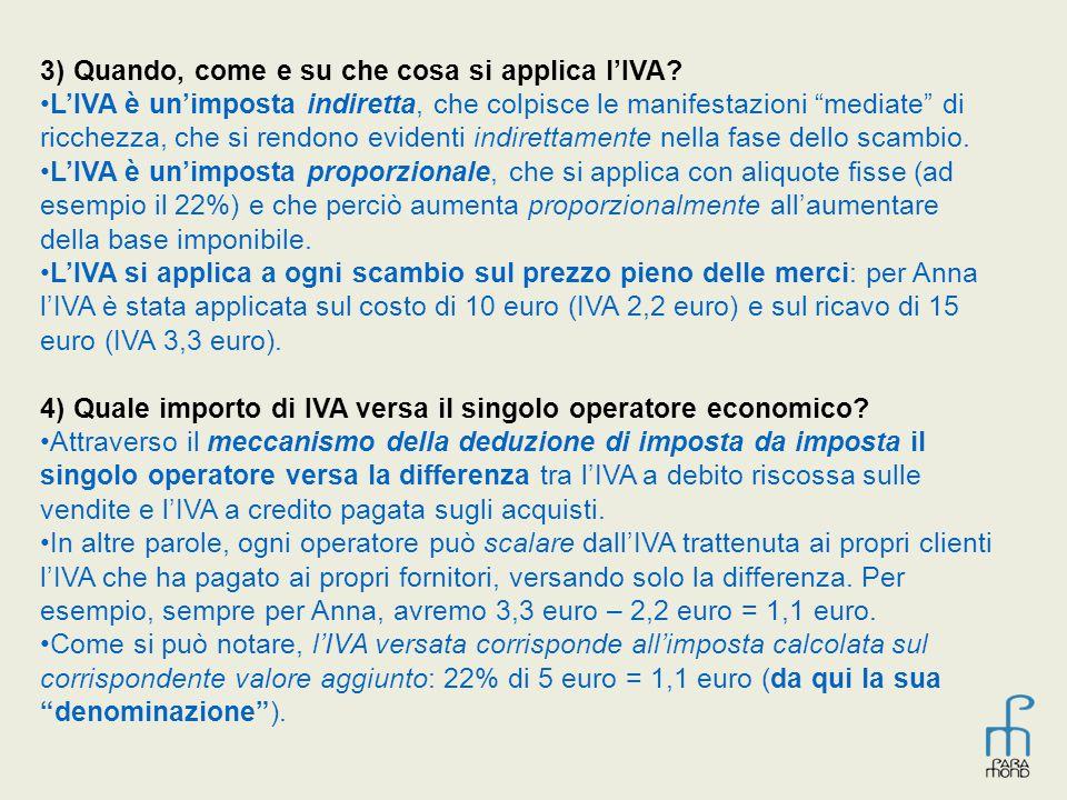 """3) Quando, come e su che cosa si applica l'IVA? L'IVA è un'imposta indiretta, che colpisce le manifestazioni """"mediate"""" di ricchezza, che si rendono ev"""