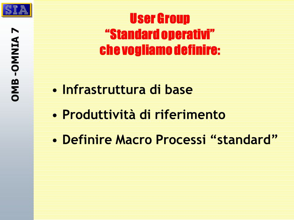 """OMB -OMNIA 7 User Group """"Standard operativi"""" che vogliamo definire: Infrastruttura di base Produttività di riferimento Definire Macro Processi """"standa"""
