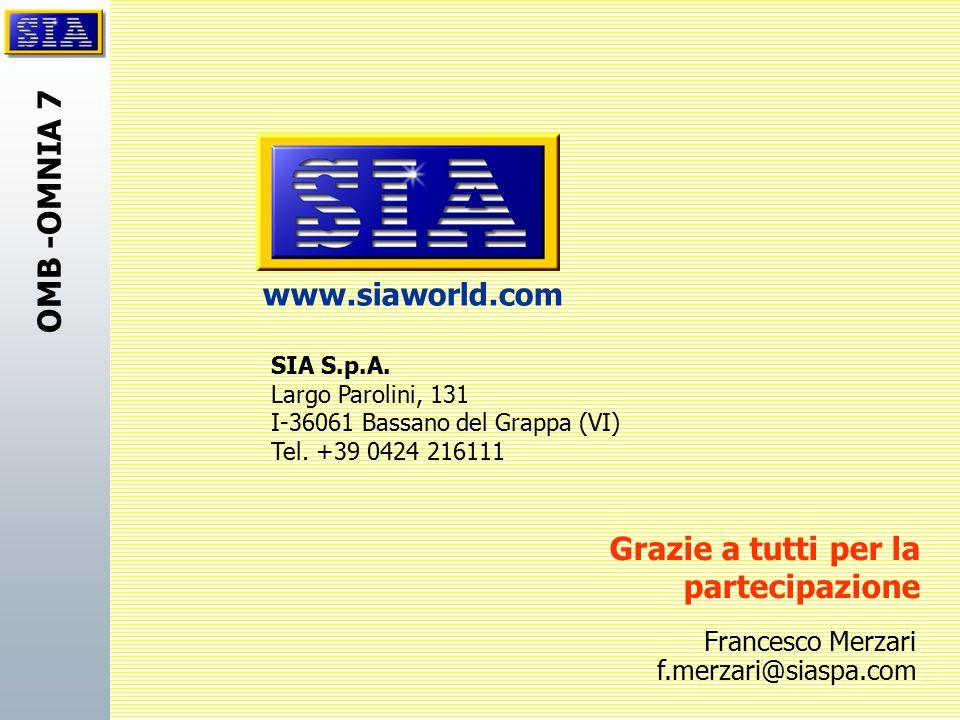 OMB -OMNIA 7 SIA S.p.A. Largo Parolini, 131 I-36061 Bassano del Grappa (VI) Tel. +39 0424 216111 www.siaworld.com Grazie a tutti per la partecipazione