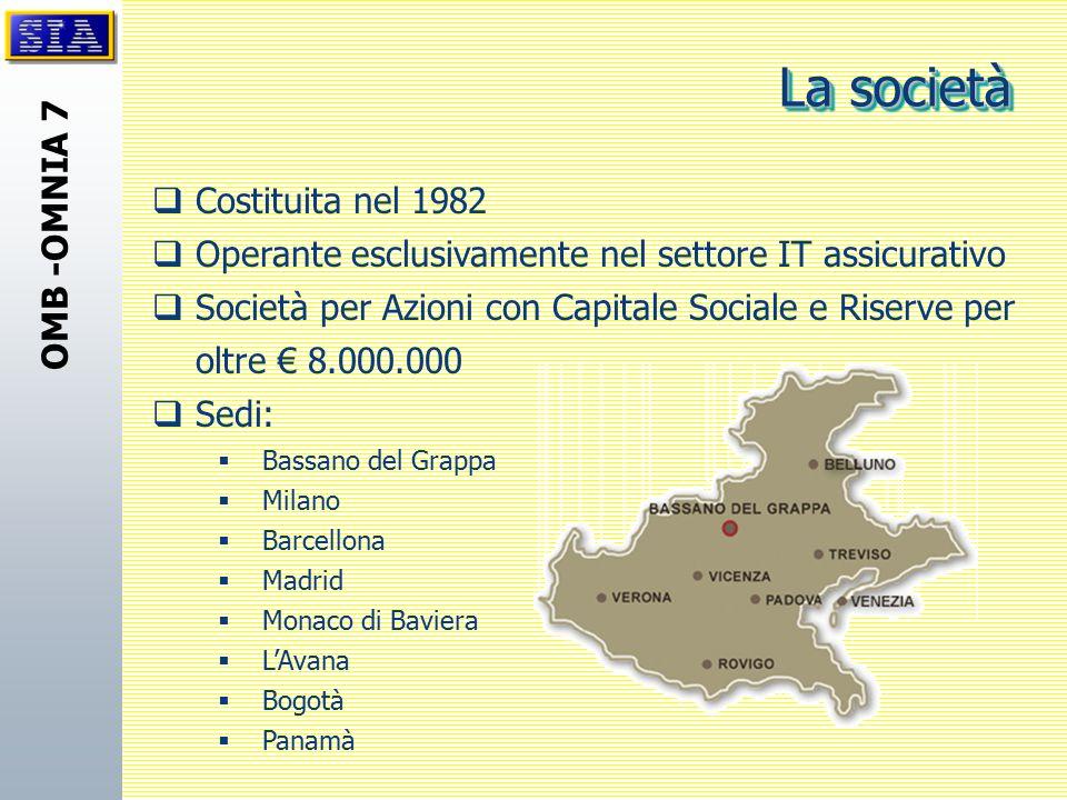 OMB -OMNIA 7  Costituita nel 1982  Operante esclusivamente nel settore IT assicurativo  Società per Azioni con Capitale Sociale e Riserve per oltre