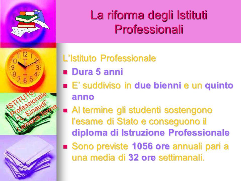 La riforma degli Istituti Professionali L'Istituto Professionale Dura 5 anni Dura 5 anni E' suddiviso in due bienni e un quinto anno E' suddiviso in d