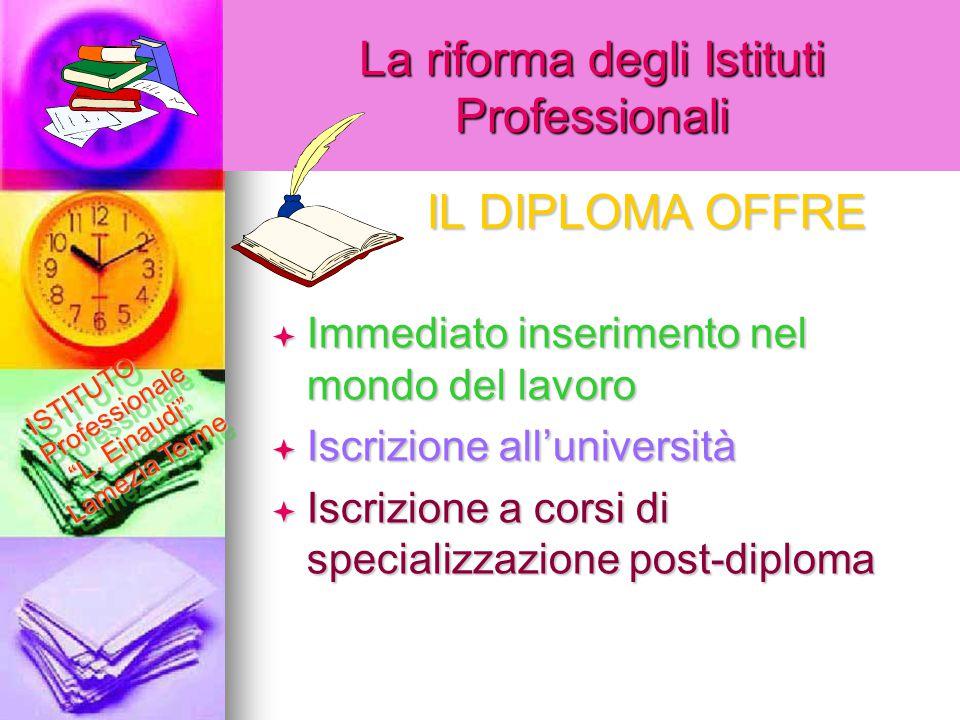 La riforma degli Istituti Professionali  Immediato inserimento nel mondo del lavoro  Iscrizione all'università  Iscrizione a corsi di specializzazi