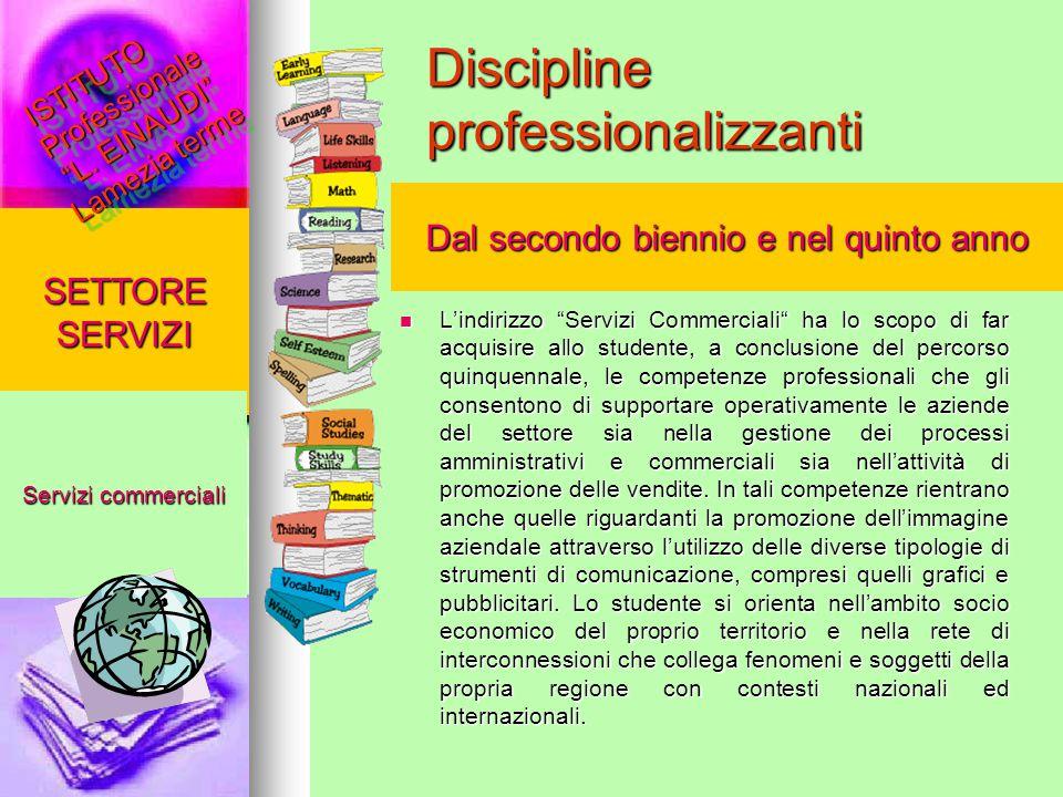 """Discipline professionalizzanti L'indirizzo """"Servizi Commerciali"""" ha lo scopo di far acquisire allo studente, a conclusione del percorso quinquennale,"""