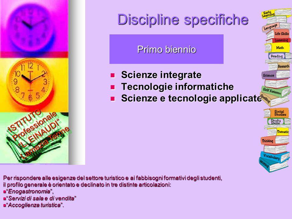 Discipline specifiche Scienze integrate Scienze integrate Tecnologie informatiche Tecnologie informatiche Scienze e tecnologie applicate Scienze e tec