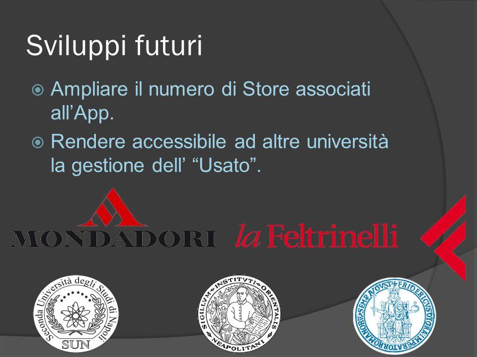 Sviluppi futuri  Ampliare il numero di Store associati all'App.