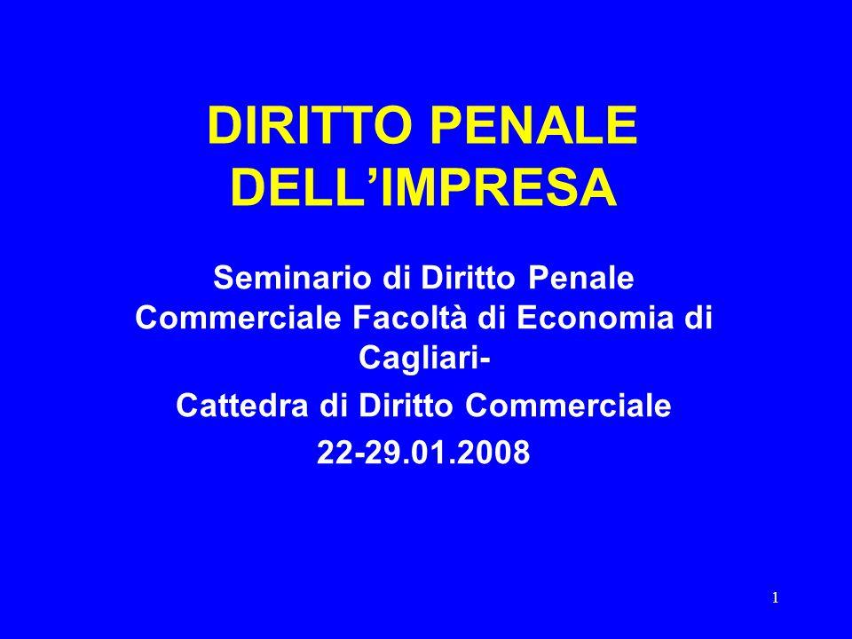 1 DIRITTO PENALE DELL'IMPRESA Seminario di Diritto Penale Commerciale Facoltà di Economia di Cagliari- Cattedra di Diritto Commerciale 22-29.01.2008