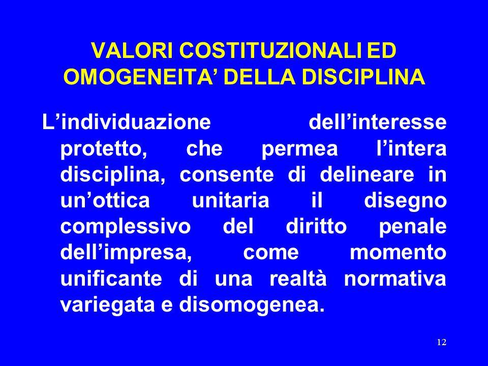 12 VALORI COSTITUZIONALI ED OMOGENEITA' DELLA DISCIPLINA L'individuazione dell'interesse protetto, che permea l'intera disciplina, consente di delinea