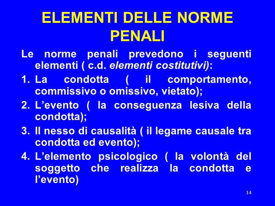 14 ELEMENTI DELLE NORME PENALI Le norme penali prevedono i seguenti elementi ( c.d. elementi costitutivi): 1.La condotta ( il comportamento, commissiv