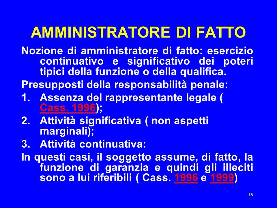 19 AMMINISTRATORE DI FATTO Nozione di amministratore di fatto: esercizio continuativo e significativo dei poteri tipici della funzione o della qualifi