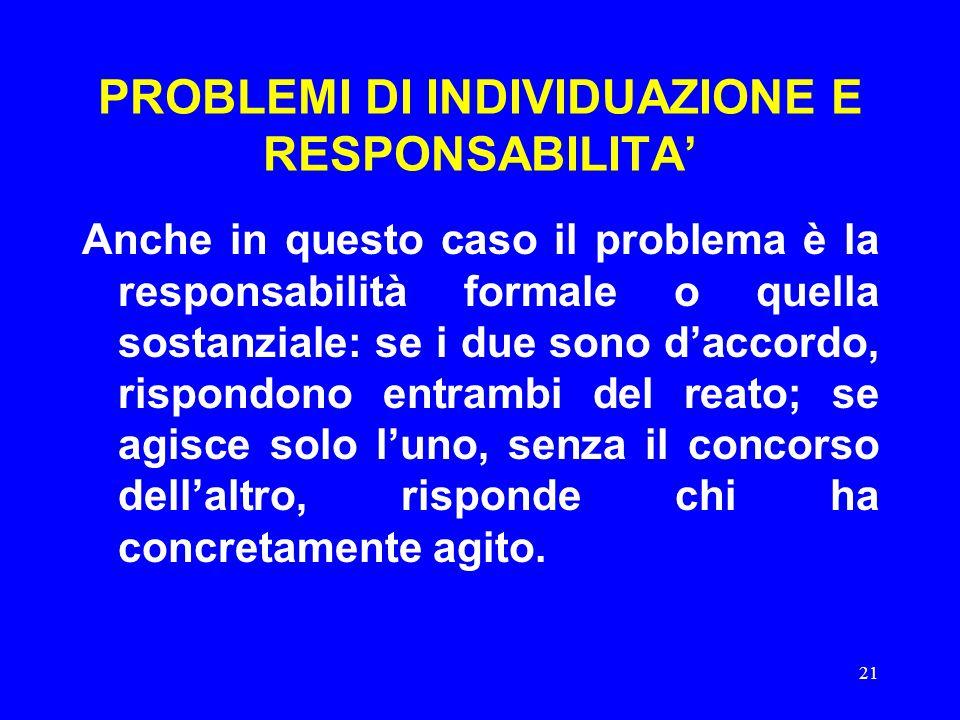 21 PROBLEMI DI INDIVIDUAZIONE E RESPONSABILITA' Anche in questo caso il problema è la responsabilità formale o quella sostanziale: se i due sono d'acc