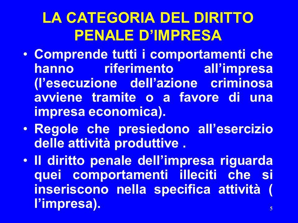 5 LA CATEGORIA DEL DIRITTO PENALE D'IMPRESA Comprende tutti i comportamenti che hanno riferimento all'impresa (l'esecuzione dell'azione criminosa avviene tramite o a favore di una impresa economica).