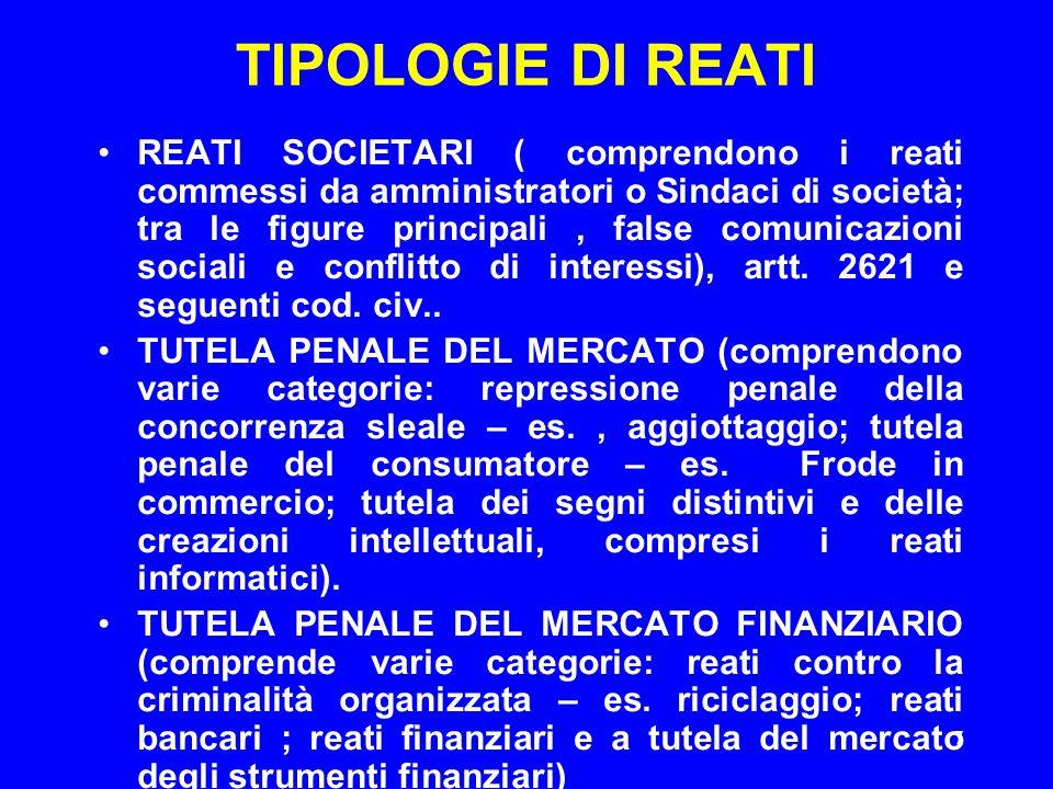 7 TIPOLOGIE DI REATI REATI SOCIETARI ( comprendono i reati commessi da amministratori o Sindaci di società; tra le figure principali, false comunicazi