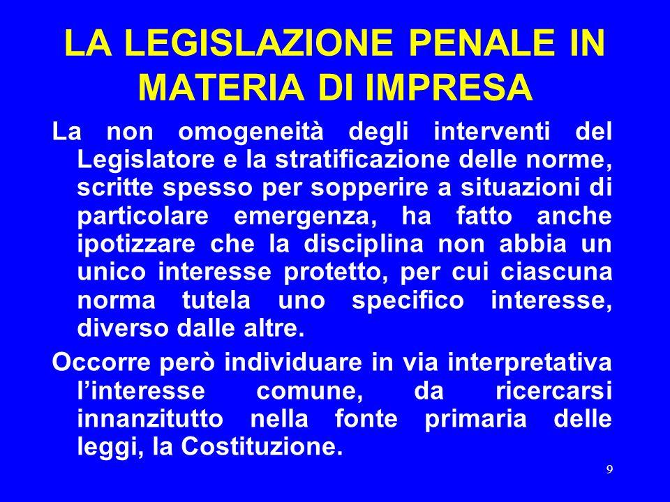 9 LA LEGISLAZIONE PENALE IN MATERIA DI IMPRESA La non omogeneità degli interventi del Legislatore e la stratificazione delle norme, scritte spesso per