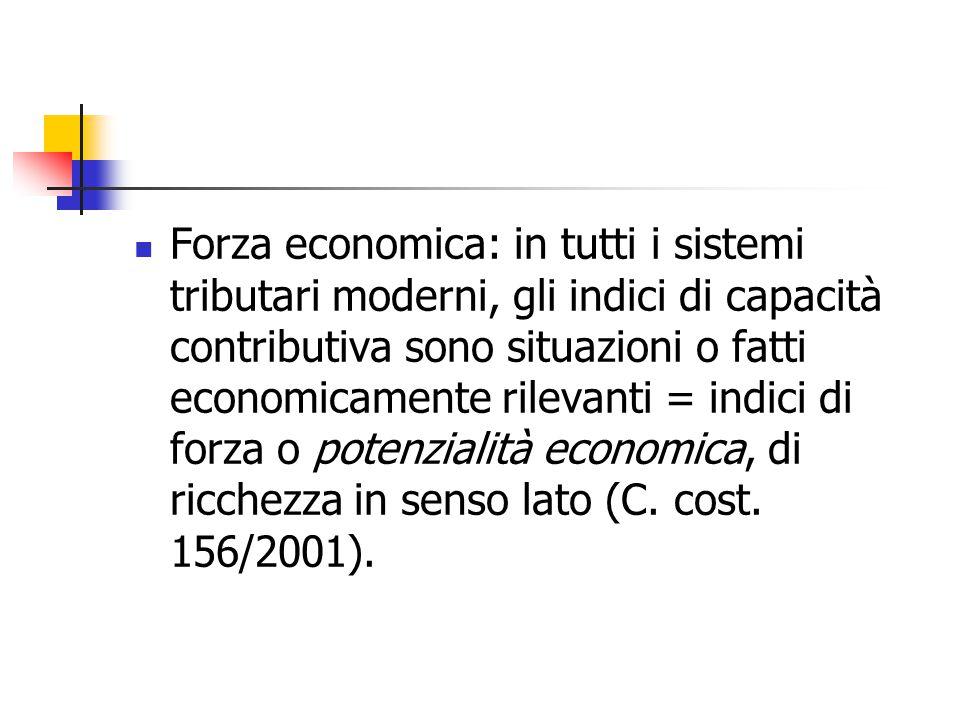 Forza economica: in tutti i sistemi tributari moderni, gli indici di capacità contributiva sono situazioni o fatti economicamente rilevanti = indici d