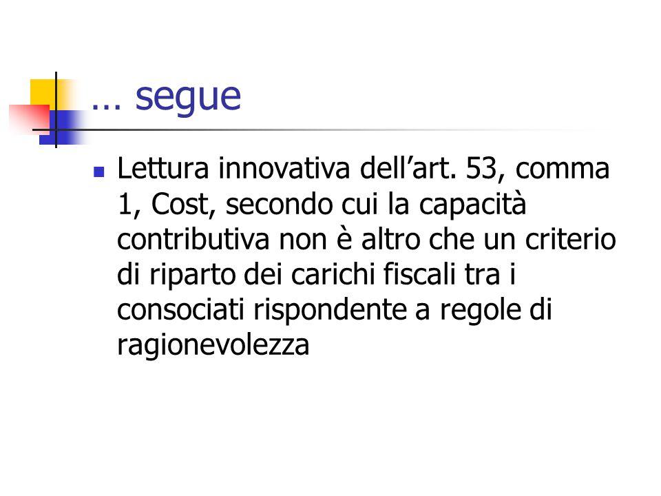 … segue Lettura innovativa dell'art. 53, comma 1, Cost, secondo cui la capacità contributiva non è altro che un criterio di riparto dei carichi fiscal