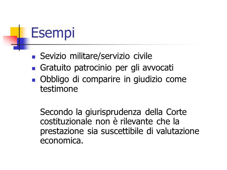 Esempi Sevizio militare/servizio civile Gratuito patrocinio per gli avvocati Obbligo di comparire in giudizio come testimone Secondo la giurisprudenza
