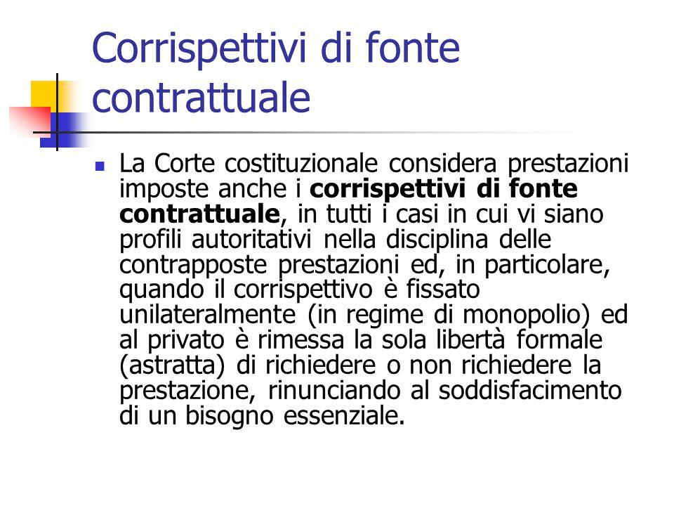 Corrispettivi di fonte contrattuale La Corte costituzionale considera prestazioni imposte anche i corrispettivi di fonte contrattuale, in tutti i casi